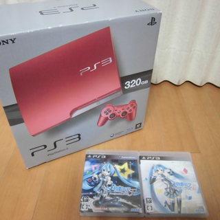 ★中古/PS3-320GB スカーレット・レッド+初音ミクf+f2