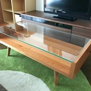 本体チェリー材のガラスローテーブル
