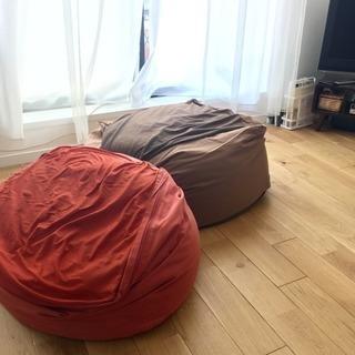 無印良品 体にフィットするソファー レッド&ブラウン2個セット