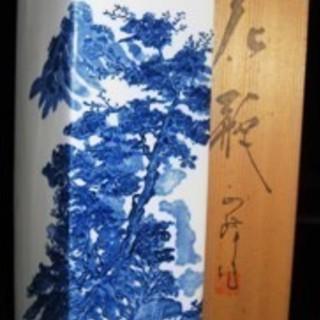 陶器製花瓶 四角柱 美品 長期保管品 高さ30.3㎝ 木箱あり