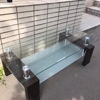 おしゃれなガラス付きセンターテーブル 札幌引取