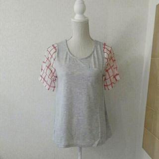 新品タグ付き 袖シフォン素材チェック Tシャツ グレー L