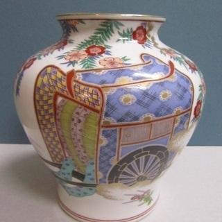 【秀峰】花器◆壺◆有田焼◆色絵桜御所車乃図◆花瓶◆飾り◆インテリア...