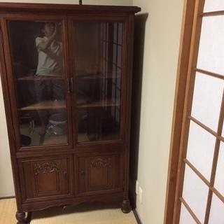 和風木製食器棚  ガラス扉