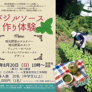 豊根村の三沢高原で、バジル収穫&ソース作り体験!みんなで作る地元野...