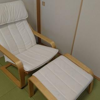 IKEA(イケア) ポエングアームチェアとオットマンのセット