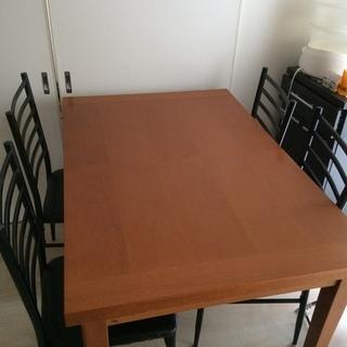 (商談中)伸縮ダイニングテーブル【椅子4脚付】