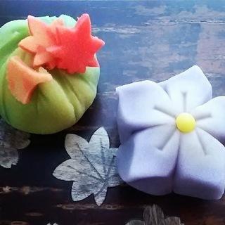手作り和菓子 秋の練り切り 紅葉の山 桔梗