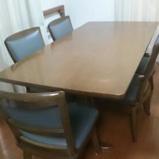 高級 ミキモクダイニング6点セット 定価13万  テーブル+回転椅子5点