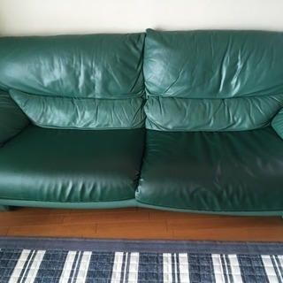 3人がけ 革製ソファ さしあげます