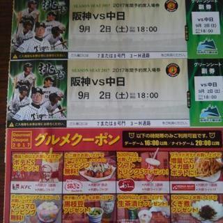 阪神vs中日グリーンシートペアチケット