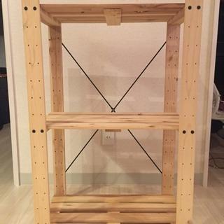 3段木製ラック(縦約90cm×横約60.5cm×奥行き約32.5cm)