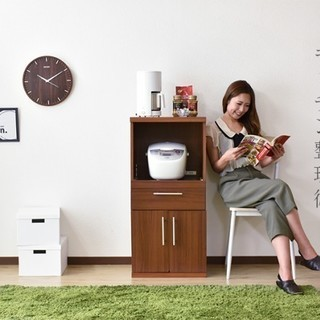 【交渉中】キッチンラック レンジ台 木製 色:ナチュラル H28年...