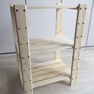 3段木製ラック(縦約60cm×横約42cm×奥行き約30cm)