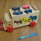 木製車の動物パズル。三芳町での受け渡しで、お譲りいたします。