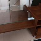 鏡付きガラステーブル