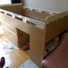 終了:ローロフトベッド(本棚、三段引き出し付)