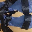 美品 ジュート リボン 編み上げサンダル