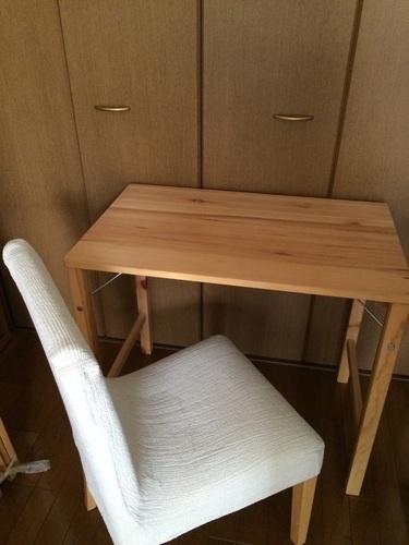 無印良品パイン材折りたたみデスクとブナ材チェア - 家具