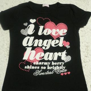 120 黒Tシャツ ハートのプリントがかわいい!used
