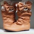 【完売】【夢展望】ペタンコヒールの姫ブーツ(キャメル)