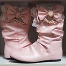 【完売】【夢展望】ペタンコヒールの姫ブーツ(ピンク)
