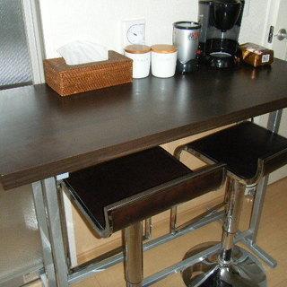 カウンターテーブルセット (椅子2脚)ダークブラウン