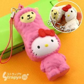 ハローキティ★アルパカスクイーズマスコット携帯ストラップ(ピンク)