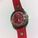世界でひとつ!ハンドメイドの腕時計☆アンティーク☆赤☆紅葉…