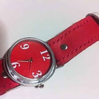 世界で一つのハンドメイド腕時計!赤