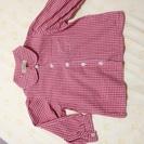bebe 赤白チェックシャツ(90)