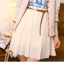 1枚限定 【レトロなシフォンミニショートプリーツスカート】 白