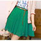 限定1枚 【レトロなシフォンミニショートプリーツスカート】 グリーン