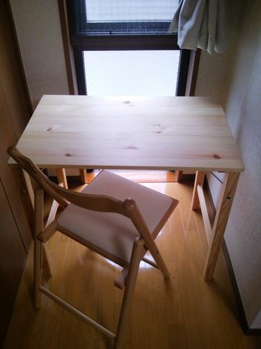無印良品 パイン材テーブル・折りたたみ式セット・ブナ材チェア折りたたみ式布
