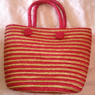 ★終了★⚫値下げ⚫赤とベージュのストライプのカゴバッグ