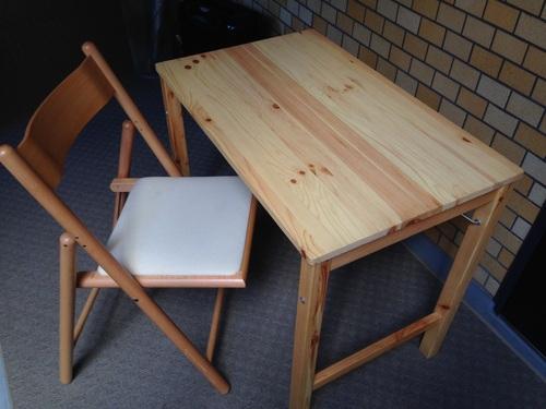 無印良品 パイン材テーブル・折りたたみ式 椅子セットの画像