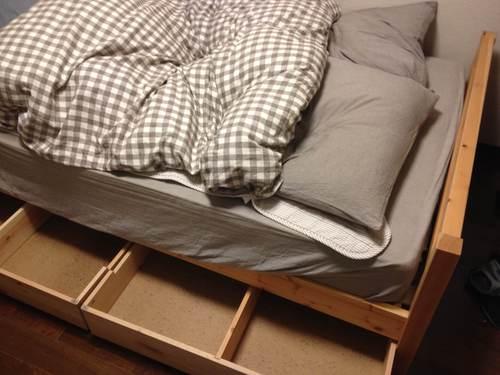終了 無印良品パイン材ベッドフレーム、マットレス、ベッド下収納の画像