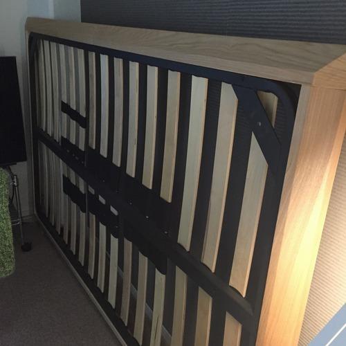 無印良品(良品計画)天然木(バーチ材)ダークブラウン ベッド下収納引き出し2個(ベッドフレームなし)