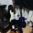 ギター、アンプ、エフェクター、ヘッドフォン、シールドその他の色々セット