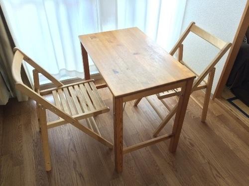 受付終了※【無印良品】パイン材の折りたたみテーブル・折りたたみチェア