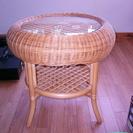 籐のサイドテーブル 高さ55cm 径60cm 美品