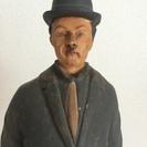 アンティーク調チャップリンの木彫りの人形(1)