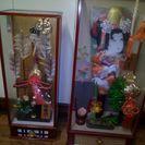 日本人形、破魔弓、羽子板、ガラスケース