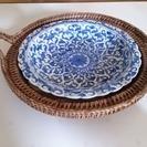 【400円】 タイの陶器セット (皿+カゴ)