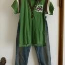 ≪服≫ サイズM グリーン×ブラウン 襟付きVネックTシャツ