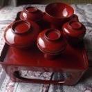 仏壇の前におく御膳とミニチュア食器(漆塗り)
