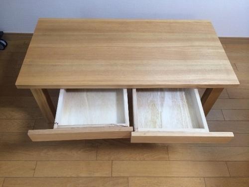 無印良品 タモ材ローテーブル 引き出し付き 取りにこれる方 - 戸田市