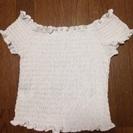 【Lサイズ】白シャーリング半袖カットソー