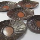 【斑紫銅】茶托◆5客◆花模様◆メール便可