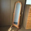 ★立鏡、姿見、ミラー、木製、中古